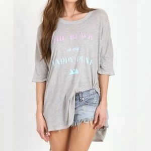 Wildfox The Beach is my Happy Place Tee XS Gray